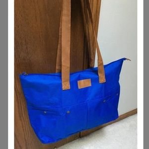 New blue packable tote travel bag